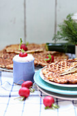 Spicy waffles served with radishes and a quark dip