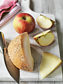 Classic British Berkswell Sheep Cheese with apple