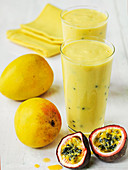 Mango and passion fruit tropical smoothie