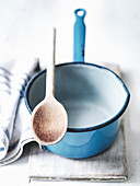 Blue Saucepan and wooden spoon