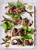 Mackerel roasted in vine leaves and pancetta