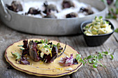 Salted beetroot with thyme and garlic butter