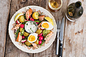 Warm potato salad with smoked fish and a horseradish sauce