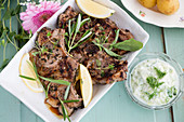 Lamb chops with a herb marinade served with apple tzatziki