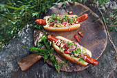Hot dogs with avocado and onions