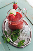 Cold strawberry soup with mint