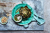 Artichoke with browned hazelnut butter