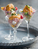 Ceviche with mashed sweet potatoes