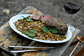 Lamb steak with spiced rice (Lebanon)