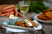 Carrot fritters with dill and lemon yoghurt
