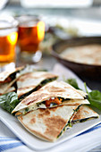 Quesadillas with mushrooms, melon and chèvre