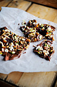 Christmas brittle with chocolate, figs and nuts