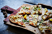 Pizza Bianca on a chopping board