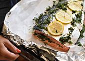 A whole lemon salmon in foil