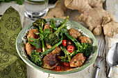 Chicken meatballs with broccoli, chilli and ginger