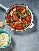 Beef minute steaks arrabbiata