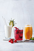 Banana, pineapple, lemongrass and coconut smoothie, Red berry sangria, Mango, orange and ginger fizz