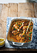 Chicken and barley paella