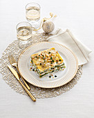 Lasagne with stockfish and lemon pesto