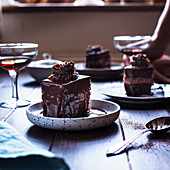 Romanian Amandine layered chocolate cake coffee rum and chocolate filling chocolate topping