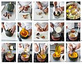 Im Kürbis gebackener Kürbis-Maroni-Risotto mit schwarzem Trüffel zubereiten