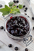 Blackcurrant jam in jar