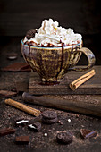Chocolate milkshake with cream and cinnamon