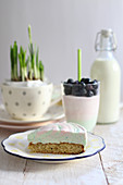 Cream cheese cake, and yoghurt with blueberries