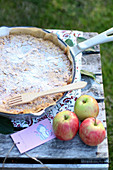 Apple cake with flaked almonds