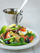 Salad Nicoise with tuna, french beens tomato and hard bolied eggs