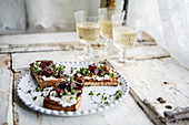 Bruschetta with balsamic cherries and rosemary