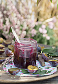 Damson jam with erica