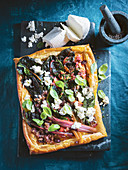 Ricotta, lemon and rainbow chard tart