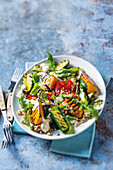 Chargrilled vegetable, barley and hummus salad