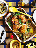 Almond dukkah chicken bake with amaranth and herbs