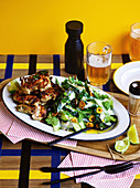 Green chilli chicken with cucumber and curry leaf salad
