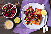 Salmon with beetroot and avocado salsa