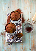 Coffee and carrot mug cake with almonds