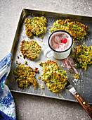 Buckwheat and courgette fritters with radish quark