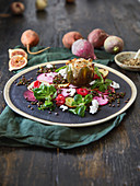 Stuffed figs with colourful beet and beluga lentils