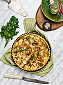 Quiche with cabbage and bacon