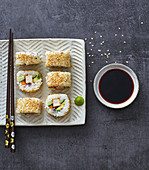 No-nori California rolls with fried tofu