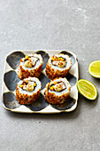 California rolls with sweetcorn and spicy BBQ chicken breast