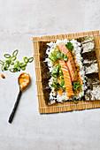 Salmon takati with crispy chilli mayonnaise