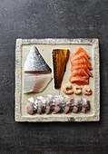 Fresh fish and prawns for sushi