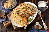 Pancakes with sauerkraut and mushrooms