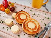 Breakfast pancakes with a cheese filling