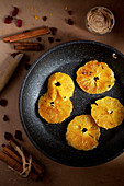 Charred Orange Slices in a Pan