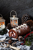 Chocolate Cherry Black Forest Yule Log Cake
