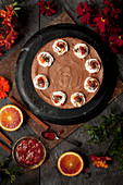 Chocolate Mousse Cake with Blood Orange Compote
